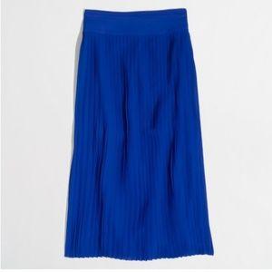J. Crew Pleated Midi Skirt in Blue